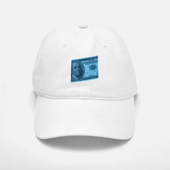 Blue Hundred Dollar Bill Baseball Baseball Cap