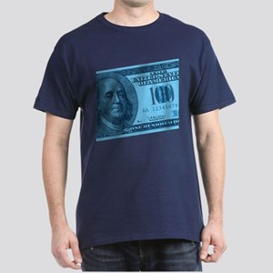 Blue Hundred Dollar Bill Dark T-Shirt