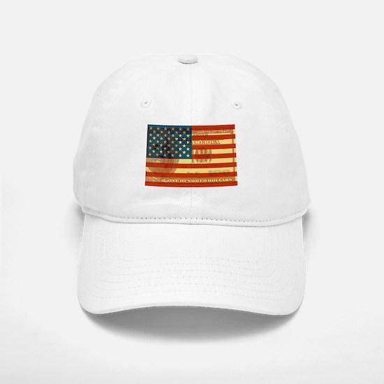 Flag with Hundred Dollar Bill Baseball Baseball Cap