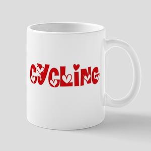 Cycling Heart Design Mugs