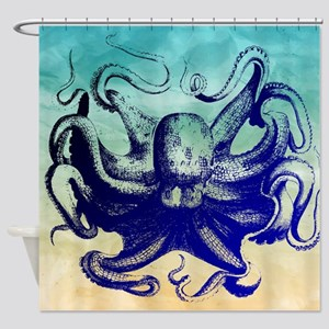 Vintage Octopus Watercolor Shower Curtain
