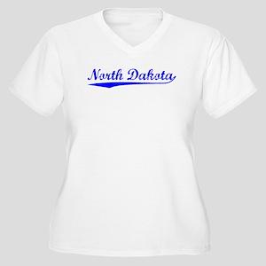 Vintage North Dakota (Blue) Women's Plus Size V-Ne