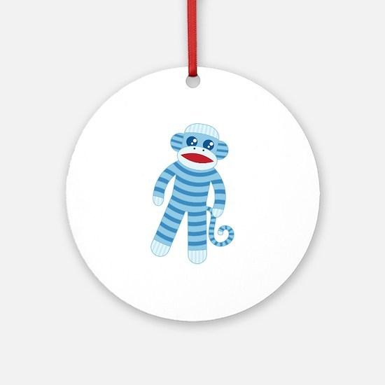 Blue Sock Monkey Round Ornament