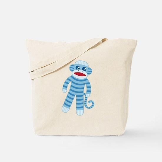 Blue Sock Monkey Tote Bag
