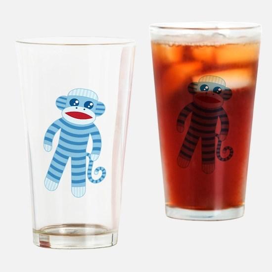 Blue Sock Monkey Drinking Glass