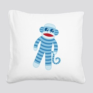 Blue Sock Monkey Square Canvas Pillow
