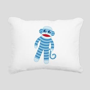 Blue Sock Monkey Rectangular Canvas Pillow