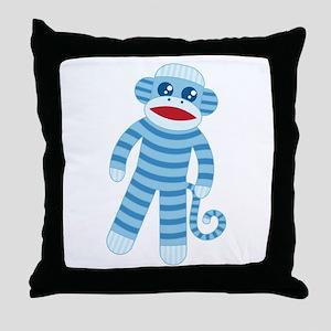 Blue Sock Monkey Throw Pillow