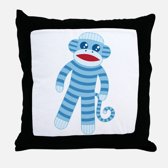 Blue Sock Monkey Throw Pillow