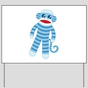 Blue Sock Monkey Yard Sign