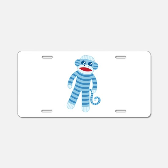 Blue Sock Monkey Aluminum License Plate