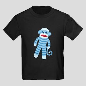 Blue Sock Monkey Kids Dark T-Shirt