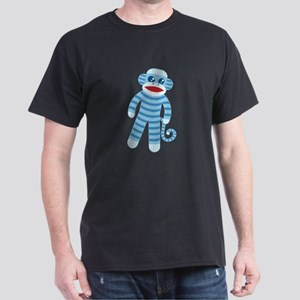 Blue Sock Monkey Dark T-Shirt