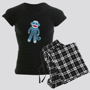 Blue Sock Monkey Women's Dark Pajamas