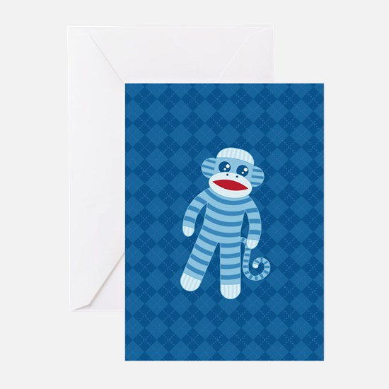 Blue Sock Monkey Greeting Cards (Pk of 20)