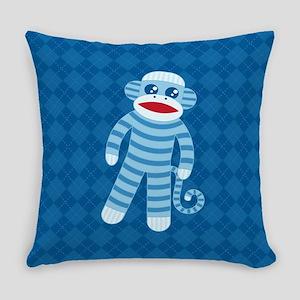 Blue Sock Monkey Everyday Pillow