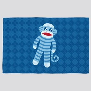 Blue Sock Monkey 4' x 6' Rug
