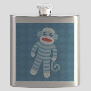 Blue Sock Monkey Flask