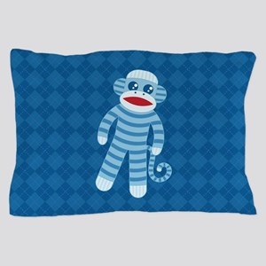 Blue Sock Monkey Pillow Case