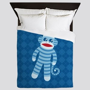 Blue Sock Monkey Queen Duvet