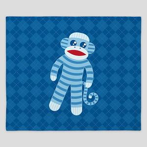 Blue Sock Monkey King Duvet