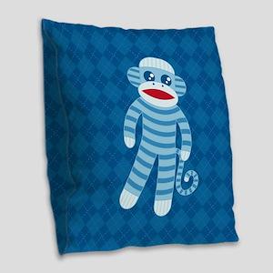 Blue Sock Monkey Burlap Throw Pillow