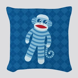 Blue Sock Monkey Woven Throw Pillow
