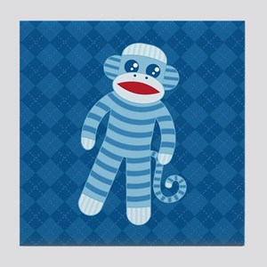 Blue Sock Monkey Tile Coaster