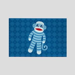 Blue Sock Monkey Rectangle Magnet