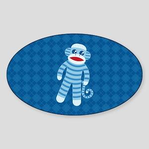 Blue Sock Monkey Sticker (Oval)