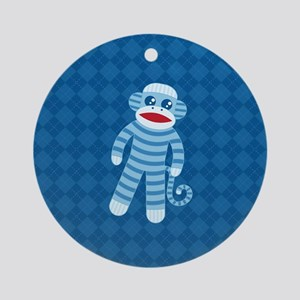 Blue Sock Monkey Round Ornament