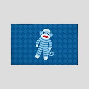 Blue Sock Monkey Area Rug