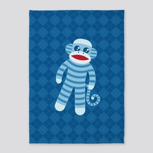 Blue Sock Monkey 5'x7'Area Rug