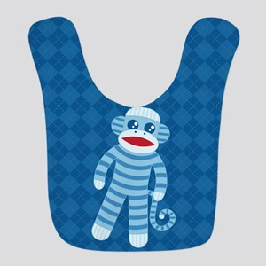 Blue Sock Monkey Polyester Baby Bib