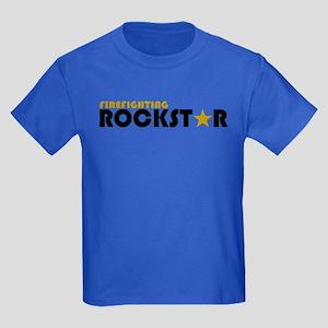 Firefighting Rockstar 2 Kids Dark T-Shirt