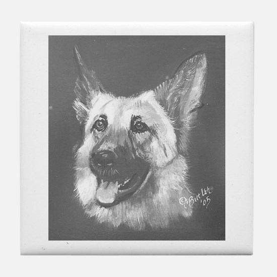 German Shepherd b/w Tile Coaster