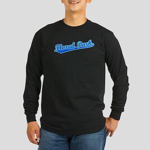 Retro Floral Park (Blue) Long Sleeve Dark T-Shirt