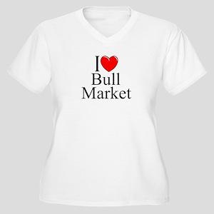"""""""I Love (Heart) Bull Market"""" Women's Plus Size V-N"""