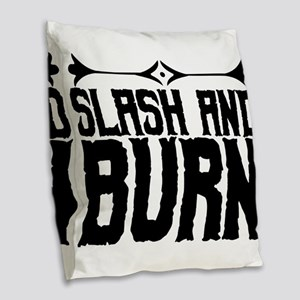 slash and burn Burlap Throw Pillow