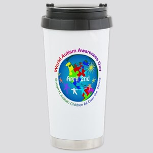 World Autism Awar 16 oz Stainless Steel Travel Mug