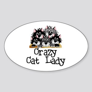 Crazy Cat Lady Oval Sticker