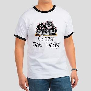 Crazy Cat Lady Ringer T