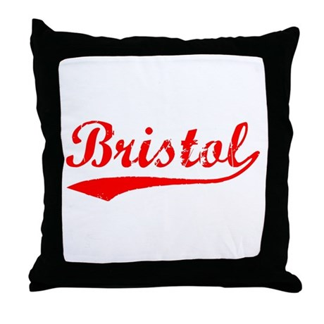 Vintage Bristol (Red) Throw Pillow