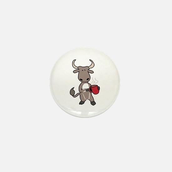 Bull Coffee Cup Mini Button