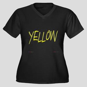 Yellow Women's Plus Size V-Neck Dark T-Shirt