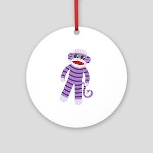 Purple Sock Monkey Round Ornament