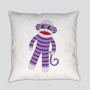 Purple Sock Monkey Everyday Pillow