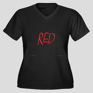 Red Women's Plus Size V-Neck Dark T-Shirt