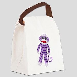 Purple Sock Monkey Canvas Lunch Bag