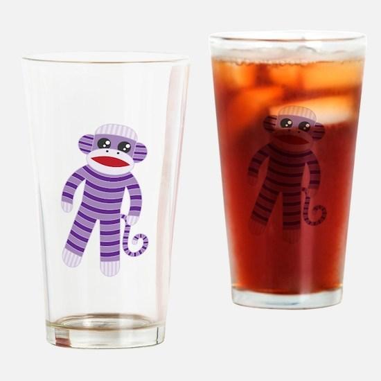 Purple Sock Monkey Drinking Glass
